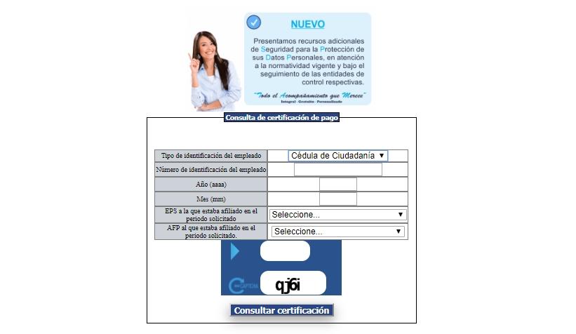 Certificación de pago PILA