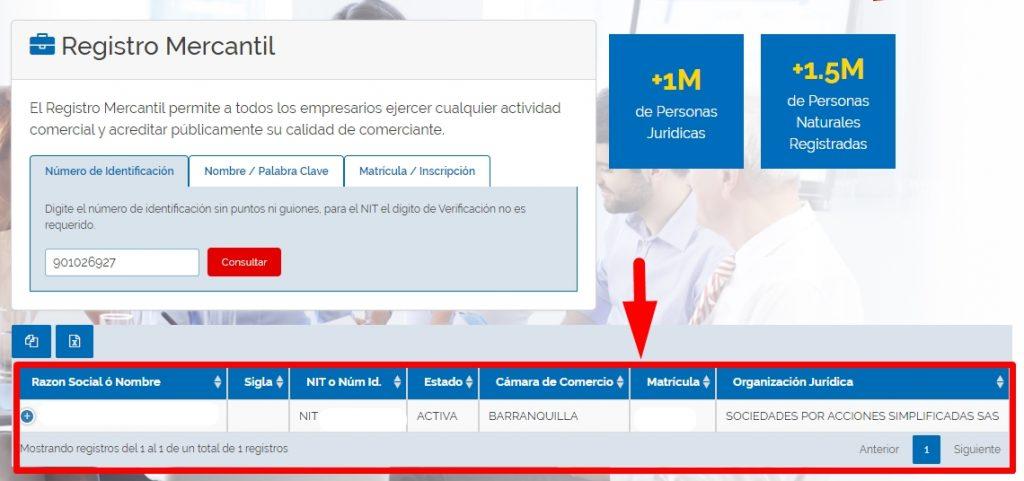 Consultar registro de una empresa en el RUES paso 2