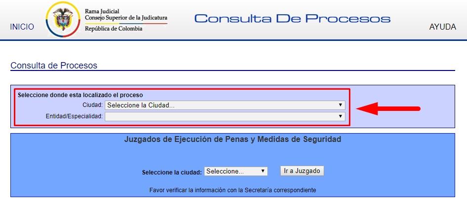 Consulta de procesos judiciales paso 3