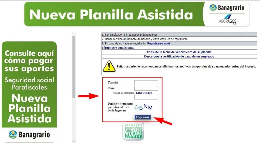 Registro de PILA asistida paso 1