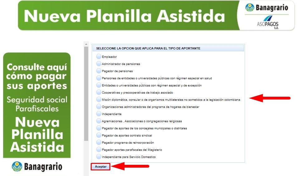 Registro de PILA asistida paso 3